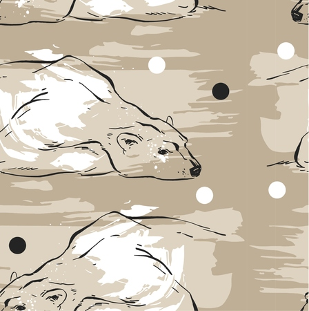 Hand drawn vector abstract Merry Christmas seamless pattern with North Pole white polar bears which lies on the snow isolated on pastel background.Pattern for fabric and wrapping paper.Journaling