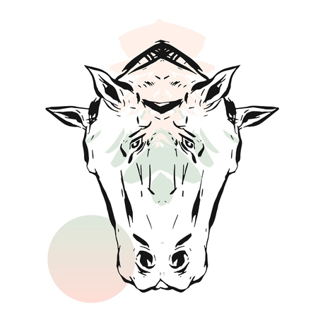 Hand drawn vector lined abstract ink graphic horses mirror heads print isolated on white background.Minimalistic style.Creative artwork.Fashion print.Minimalistic style.T-shirt design,sign,decoration