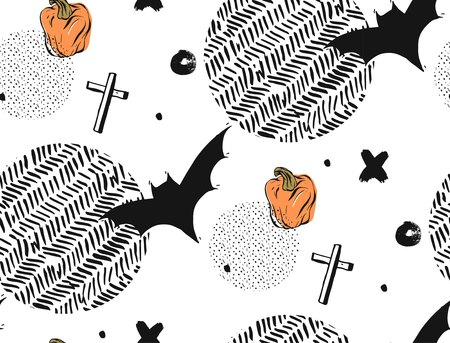 Hand drawn Seamless Halloween vector abstract textured pattern with bats,crosses and pampkins.Isolated on white background with round polka dot and zig zag textures. Çizim