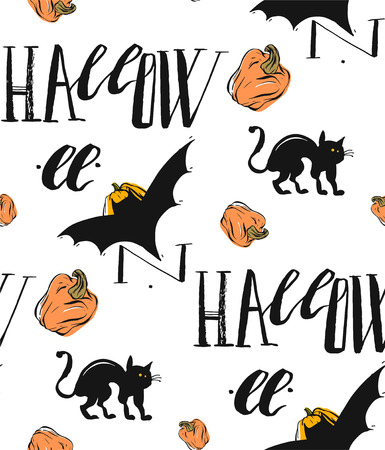 silueta de gato: Hand drawn vector abstract retro seamless halloween pattern