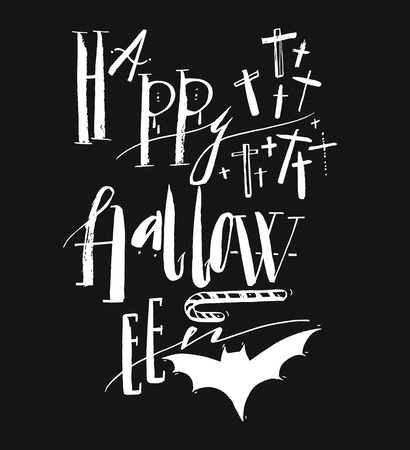 Hand drawn vector Halloween Poster with handwritten modern lettering phase