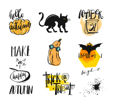 Vector set of posters with pumpkins for Halloween