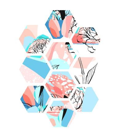 Hand drawn universal textured abstract composition with hexagon shapes. Illustration