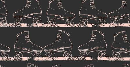 Mano dibujada vector abstracto creativo ilustración de patrones sin fisuras con rodillos gráficos en colores pastel aislados sobre fondo negro.
