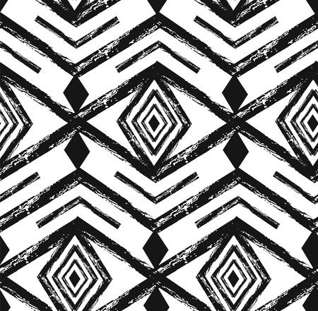 ブラックトライバルナバホベクター落書き要素とシームレスなパターン。アステカ抽象幾何学アートプリント。エスニックヒップスターの背景。壁