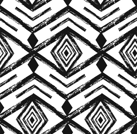 Black tribal Navajo vector seamless pattern with doodle elements. aztec abstract geometric art print. ethnic hipster backdrop. Wallpaper, cloth design, fabric, paper, textile. Hand drawn. Иллюстрация