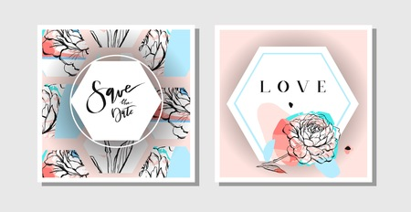 Hand drawn vector abstract creative collage freehand textured save the date greeting cards collection set template with flowers isolated on pastel background.Wedding,save the date,birthday,rsvp