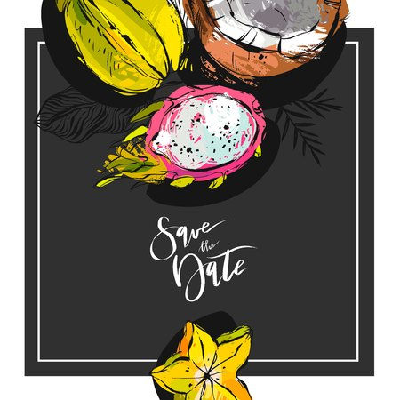 Hand drawn tropic vector abstract Save the date card template with collection of exotic fruits pitaya,carambola and coconut in bright colors isolated on black background.