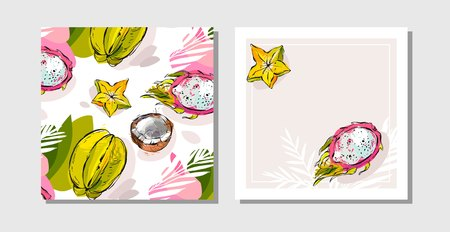 african business: Hand drawn vector abstract freehand textured unusual tropical save the date cards set collection with palm leaves,dragon fruit,coconut and carambola in bright colors isolated on white background