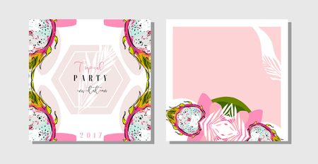 Hand drawn vector abstract freehand textured unusual tropical save the date cards set collection template with palm leaves and dragon fruit in bright colors isolated on white background.