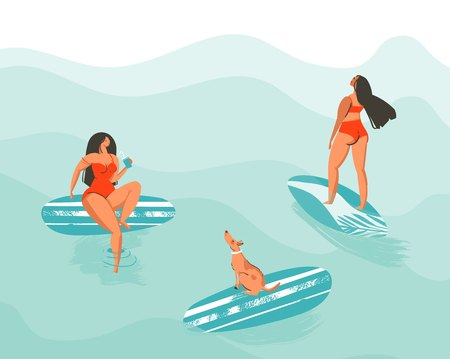 Hand drawn vector abstract summer time fun cartoon illustration poster with surfer swimming girls in red bikini with dog isolated on blue ocean waves.