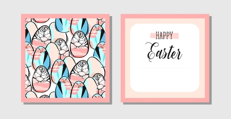 Hand drawn vector abstract creative Easter greeting postcard design template with painted Easter eggs and spring flowers isolated on white background.Design for flayer,invitation,journaling,decoration