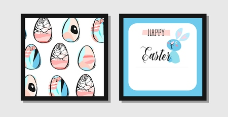 Hand drawn vector abstract creative Easter greeting postcard design template with painted Easter eggs and Easter bunny isolated on white background.Design for flayer,invitation,journaling,decoration