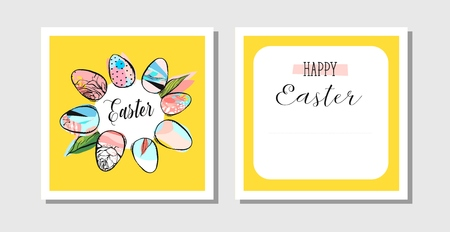 Hand drawn vector abstract creative Happy Easter greeting postcards design template with painted Easter eggs frame and Happy Easter phase in yellow colors.Design for invitation,decoration,sign,sale