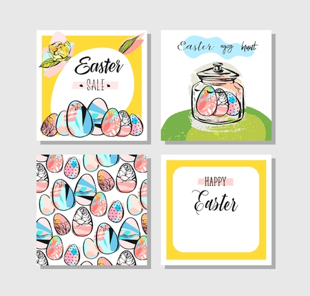 christmas greeting card: Hand drawn creative Happy Easter greeting card design collection set template with flowers,Easter eggs and bunny in pastel colors.