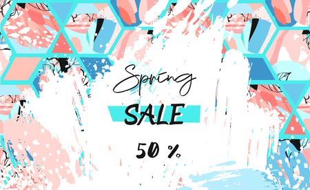 Hand drawn vector abstract textured artistic drawing Spring Sale header template with hexagon shapes and hand made textures in pastel colors isolated on white background.