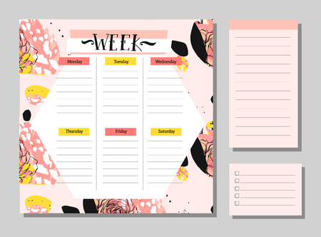 Hand drawn vector abstract creative unusual universal week planner with notes pages collection set in floral motif in pastel colors.