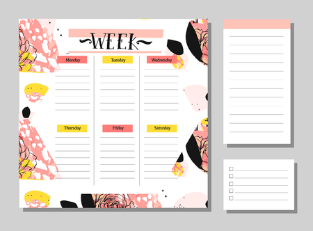 Hand drawn vector abstract creative unusual universal week planner with notes pages collection set in floral motif in pastel colors.Cute drawing page for notes.Notebooks,diary,Organizer and Schedule