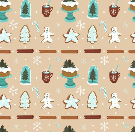 Hand drawn abstract cartoon Christmas seamless pattern with Scandinavian home decorations  on brown background. Illustration