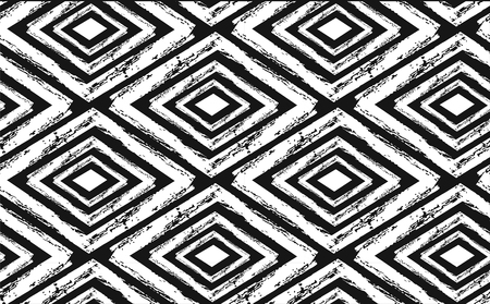 Hand drawn seamless tribal pattern in black and cream.