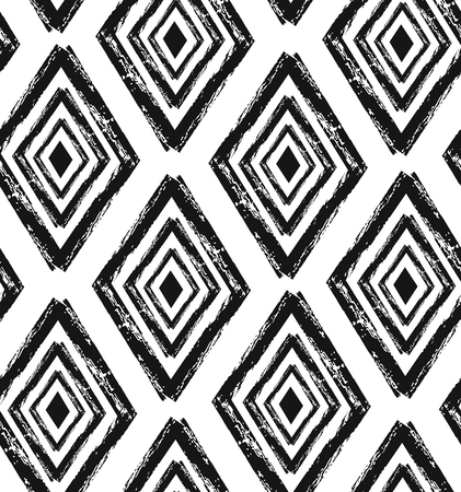 Hand drawn seamless diamond shapes pattern in black and cream. Illustration