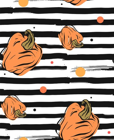 Hand drawn vector abstract seamless autumn pattern with pumpkins on a background of the trend Grunge line