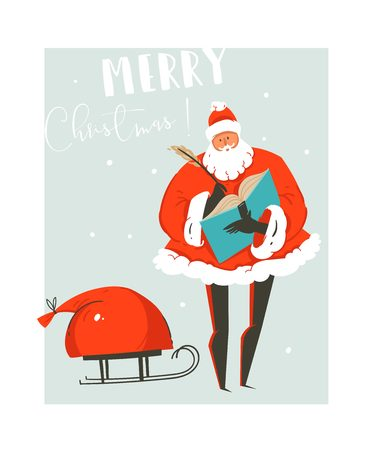 Hand drawn vector abstract fun Merry Christmas time illustration greeting card with Santa Claus and bag of many surprise gifts on sleigh isolated on blue background.