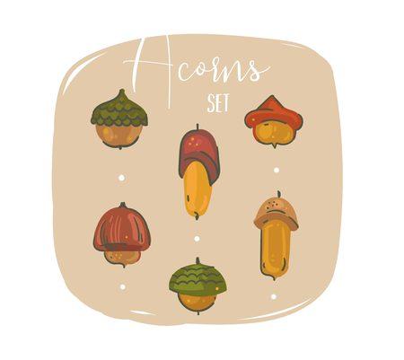 Oak acorns vector illustration.