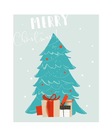 Bergeben Sie gezogenen Vektorzusammenfassungsspaß Zeitkarikaturillustration der frohen Weihnachten mit blauem Weihnachtsbaum und vielen Überraschungsgeschenkboxen, die auf blauem Hintergrund lokalisiert werden Standard-Bild - 87774787