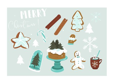 Hand drawn vector abstract fun Merry Christmas time cartoon illustration collection set with many decoration elements isolated on blue background. Çizim