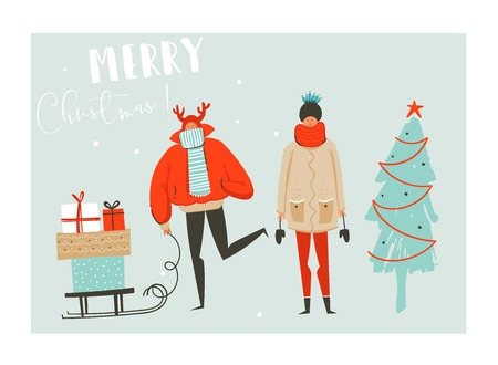Hand drawn vector abstract fun Merry Christmas time cartoon illustration set with group of people in winter clothing,many surprise gift boxes on sleigh and xmas tree isolated on blue background. 일러스트