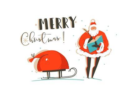 Amusement abstrait dessiné à la main joyeux Noël temps illustration carte de voeux avec le groupe de personnes, beaucoup de boîtes de cadeaux surprise et arbre de Noël isolé sur papier craft. Banque d'images - 87782463
