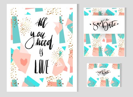 Hand drawn vector Abstract geometric set with save the date card template and poster with handwritten lettering.