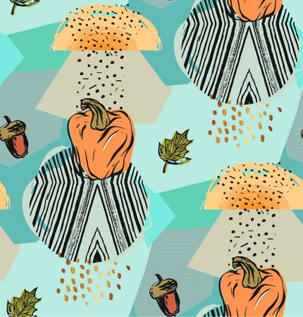 Abstract geometric autumn seamless pattern with pumpkins,acorns,leaves fall,geometric textures and shapes isolated on gray rainy background Ilustrace