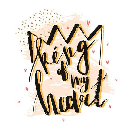 Hand getrokken vector abstracte geweven illustratie met handgeschreven inkt moderne belettering fase Koning van mijn hart en de kroon op abstracte pastel en gouden achtergrond.