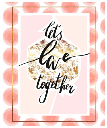 Hand drawn abstract artistic textured poster with ink handwritten modern romantic lettering phase.