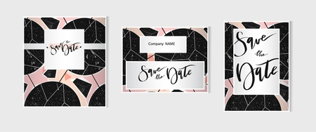 Hand drawn abstract artistic geometric card save the date templates set collection.