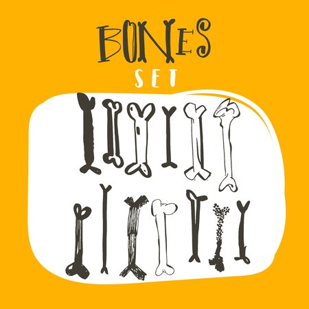 Hand drawn vector abstract cartoon Happy Halloween illustrations collection set with different freehand bones decoration elements isolated on white background. Illustration