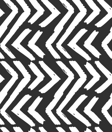 Hand drawn vector abstract rough geometric monochrome seamless zig zag chevron pattern.