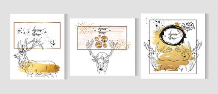 Hand drawn vector abstract graphic gold cards template set with deers isolated on white background in gold,black and white colors.Merry Christmas and Happy new Year greeting card collection