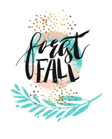 Hand drawn vector abstract artistic textured poster with handwritten modern ink lettering phase forest fall and golden glitter 向量圖像