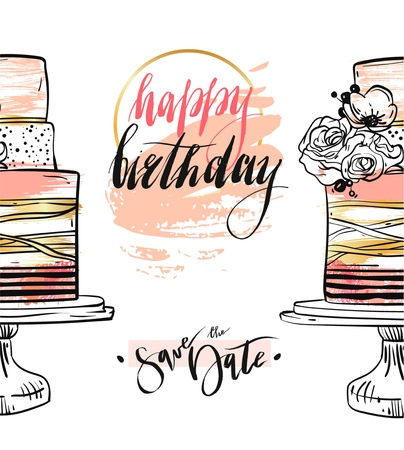 Hand drawn vector abstract textured Happy birthday save the date card template with gold,pastel colors,birthday cakes,flowers and modern ink lettering isolated on white background