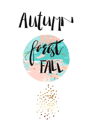 Hand drawn vector abstract artistic textured poster with handwritten modern ink lettering phase autumn forest fall and golden glitter in pastel pink and blue colors isolated on white background 向量圖像