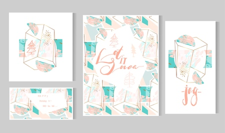 Hand drawn vector abstract artistic geometric Merry Christmas greeting cards template set on polygonal terrarium pattern in gold,white,pink pastel and tiffany blue colors.