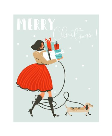 Hand drawn vector abstract fun Merry Christmas time cartoon illustration greeting card with girl in dress,dog and many surprise gift boxes on sleigh isolated on blue background Vettoriali