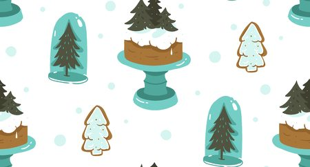 Hand drawn vector abstract cartoon Christmas seamless pattern with scandinavian home decorations elements glass bulb,holiday cake on stand and gingerbread cookies isolated on white background. Illustration