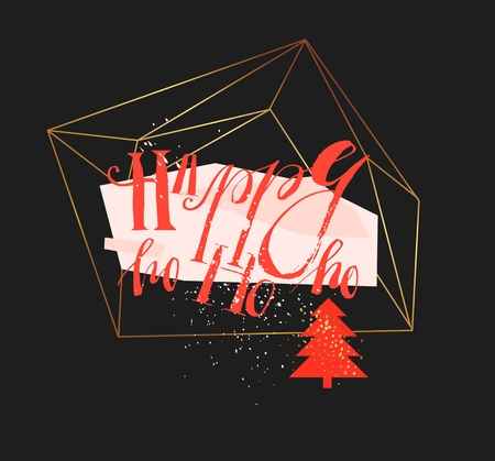 Hand drawn vector abstract geometric christmas greeting illustration with handwritten modern lettering phase Happy ho ho ho in gold flower terrarium in red and pastel colors isolated