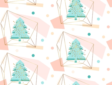 Hand drawn vector abstract geometric artistic christmas decoration seamless pattern illustration with christmas tree in gold terrarium in pastel,blue,gold,pink colors isolated on white background. Stock Photo