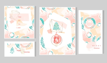 Hand drawn vector abstract artistic creative christmas cards template with handwritten modern lettering phase joy on christmas ball and christmas tree in gold terrarium in pastel,blue,pink and gold