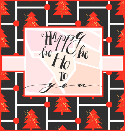 Merry Christmas greeting card with calligraphy. Hoho. Handwritten modern brush lettering. Hand drawn design elements. Illustration